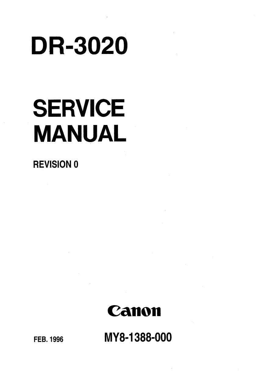 Canon Options DR-3020 Document-Scanner Parts and Service